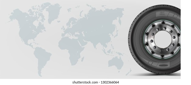 Background wheel. Black rubber. Realistic vector shining disk. Banner. Promo. Information. Store. Sale. Mock-up. Travel. Global trade.