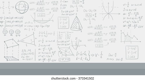 Background of white blackboard with mathematical equations.