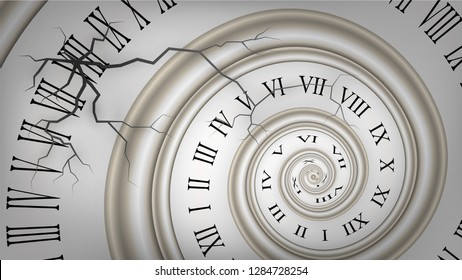 Background with white cracked spiral dial, clock. Time, eternity metaphor