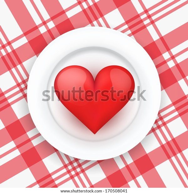 Background white plate with beautiful realistic heart. Vector illustration. Love or medicine theme. Editable and isolated.