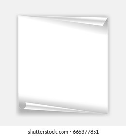 Background white sheet of paper gray background .The edge is folded.Space for text.Vector illustration.