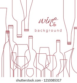 Background with wine glasses and bottles. Design element for tasting, menu, wine list, winery, shop. Line style. Vector illustration cropped with a mask.