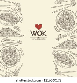 Background with wok: chinese noodles, wok with noodles and chopsticks with noodles. Vector hand drawn illustration