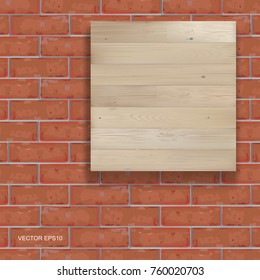 Background of wood board texture and red brick wall pattern. Vector illustration.