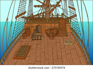 Background with wooden deck of old sailing ship, with barrels and ropes, detailed hand drawn illustration