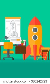 Background of workspace with business start-up rocket.