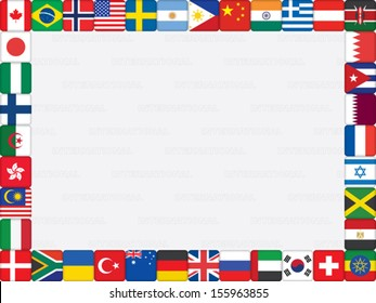 background with world flag icons frame vector illustration