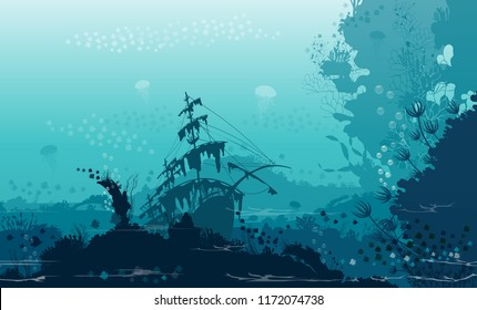 The background of the world's deep-sea fishing boat silhouette and shadow streak Marian underwater coral that looks peaceful. Modern style Illustration of a flat color shadow element.