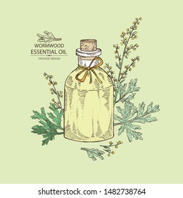 Background with wormwood and bottle of wormwood essential oil. Cosmetic, perfumery and medical plant. Vector hand drawn illustration.