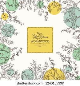 Background with wormwood: wormwood branch, wormwood flowers and leaves . Cosmetics and medical plant. Vector hand drawn illustration.illustration.