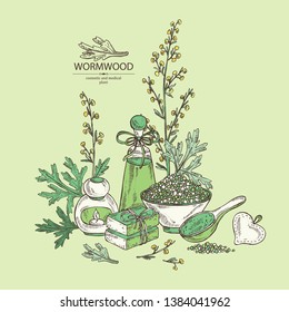 Background with  with wormwood: wormwood branch, wormwood flowers,  soap and bath salt . Cosmetic and medical plant. Vector hand drawn illustration.