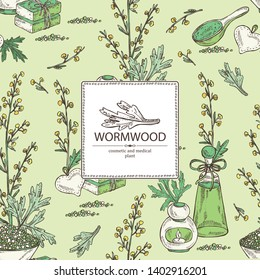Background with wormwood: wormwood branch, wormwood flowers, soap and bath salt . Cosmetic and medical plant. Vector hand drawn illustration.