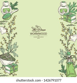 Background with wormwood: wormwood branch, wormwood flowers, soap and bath salt . Cosmetic and medical plant. Vector hand drawn illustration