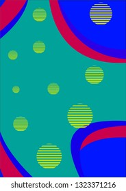 Background with yellow bubble, green, red and blue color