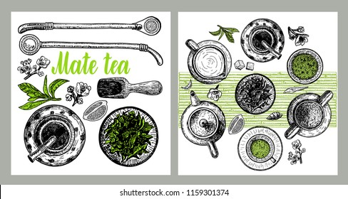 Background with yerba mate: drink mate, bomber, calabash, and mate branch and leaves. Vector hand drawn illustration. Yerba mate tea.