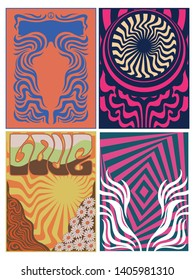 Backgrounds from the 1960s, 1970s, Psychedelic Arts,  Vintage Shapes and Colors