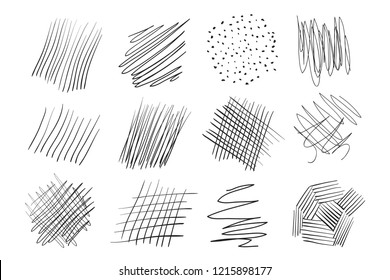 Backgrounds with array of lines. Intricate chaotic textures. Wavy backdrops. Hand drawn tangled patterns. Black and white illustration. Elements for posters and flyers