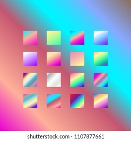 Backgrounds collection. Set of 16 vibrant vector gradient in neon spectrum colorful shades: pink, silver, purple, violet, blue, turquoise. Beautiful wallpapers for positive vibes.