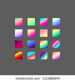 Backgrounds collection. Set of 16 vibrant vector gradient in neon spectrum colorful shades: pink, red, purple, violet, blue, turquoise. Beautiful wallpapers for positive vibes.