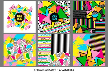 Backgrounds with colorful geometric figures. Vector illustration.