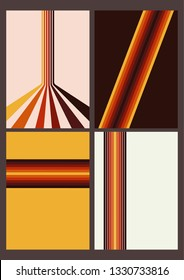 Backgrounds, Covers, Orange Patterns from the 1970s  Isolated Vintage Set