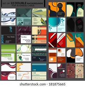 Backgrounds for double business cards, contains circles, squares, lines, different shapes, many colors. Backgrounds on front and back side, vertical and horizontal.