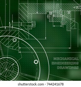 Backgrounds of engineering subjects. Technical illustration. Green background. Points