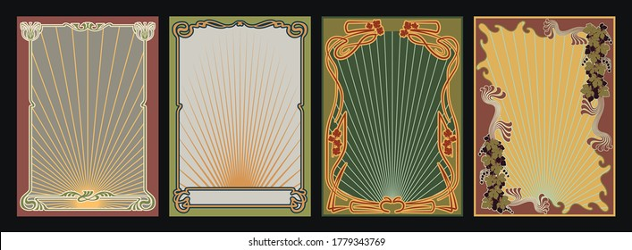 Backgrounds and Frames Art Nouveau Style, Retro Set from the 1920s, 1930s