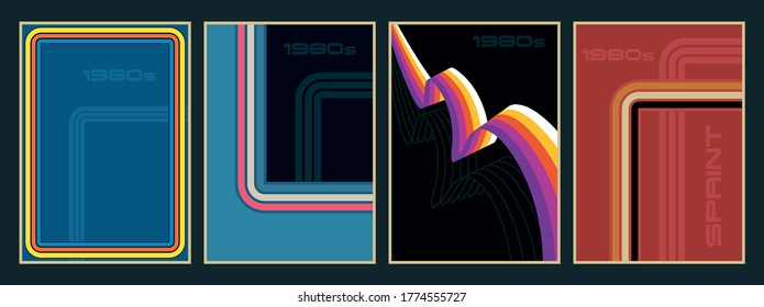 Backgrounds, Poster, Cover Templates 1980s Style, Vintage Color Lines