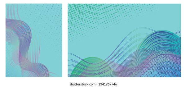 Backgrounds with trendy colorful abstract design for brochures, posters, presentations and banners.  Modern design with flowing overlapping shapes made of curvy lines and dots. Jpg and Vector.