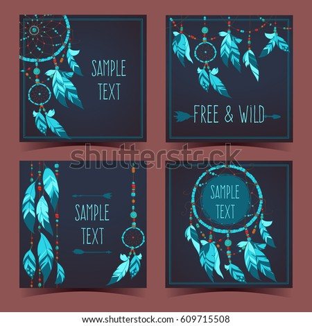 Backgrounds with tribal feathers, beads and dreamcatcher. Boho style cards for invitation. Vector