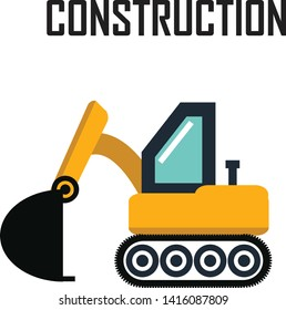 Backhoe Excavator icon automotive equipment machine. Isolated excavate shovel bulldozer loader scoop transportation dig. Illustration vector vehicle. Digger construction  machinery mover mono symbol .