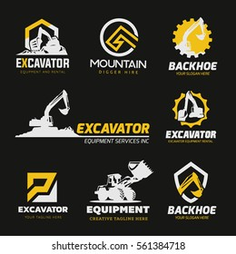 Backhoe excavator Logo Set