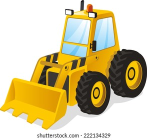 Backhoe excavator Power shovel truck vector illustration