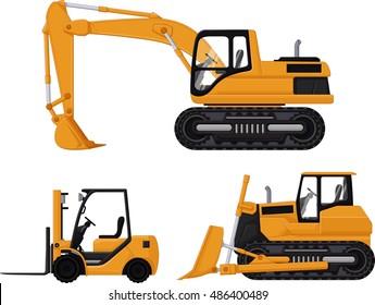 backhoe, forklift and bulldozer