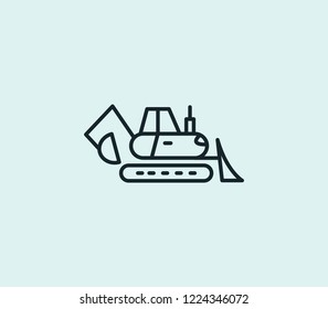 Backhoe icon line isolated on clean background. Backhoe icon concept drawing icon line in modern style. Vector illustration for your web mobile logo app UI design.