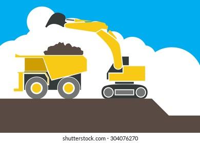 Backhoe loader excavator machine loading dumper truck, sand and soil, vector