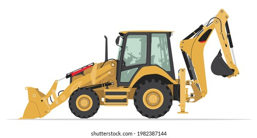 Backhoe Loader Heavy Equipment Transportation Vector Isolated Illustration