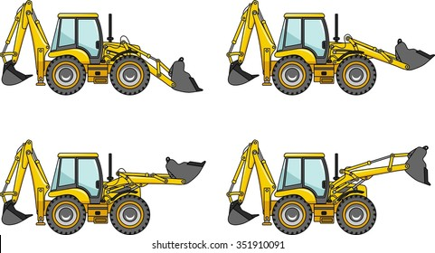 Backhoe loaders. Heavy construction machines. Detailed illustration of backhoe loaders, heavy equipment and machinery.