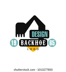 Backhoe logo design, estd 1965, excavator equipment service label vector Illustration
