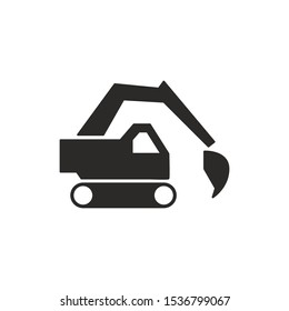 Backhoe Sign Isolated On White Background. Backhoe Loader Symbol Simple, Flat Vector, Icon You Can Use Your Website Design, Mobile App Or Industrial Design. Vector Illustration