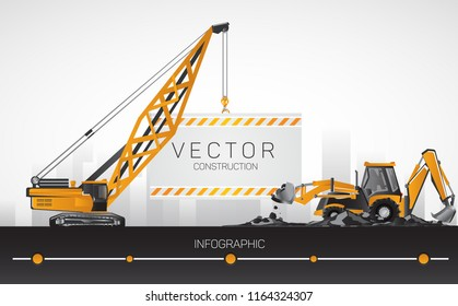 Backhoe tractor with boom crane, construction equipment.