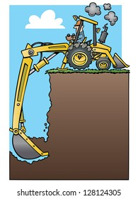 Backhoe tractor digging a deep hole