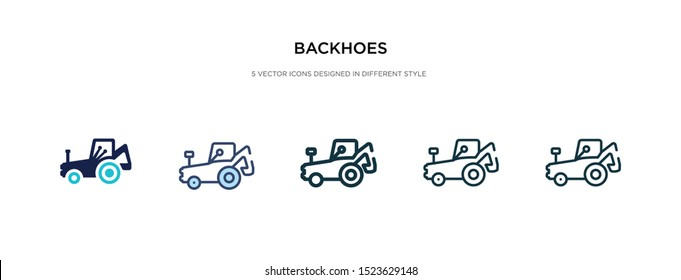 backhoes icon in different style vector illustration. two colored and black backhoes vector icons designed in filled, outline, line and stroke style can be used for web, mobile, ui