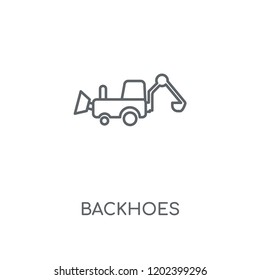 Backhoes linear icon. Backhoes concept stroke symbol design. Thin graphic elements vector illustration, outline pattern on a white background, eps 10.