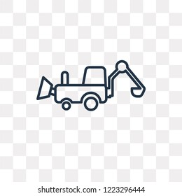 Backhoes vector outline icon isolated on transparent background, high quality linear Backhoes transparency concept can be used web and mobile
