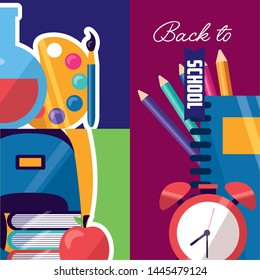backpack books apple clock notebook color pencils back to school