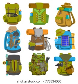Backpack camp vector backpacking travel bag with tourist equipment in hiking camping and climbing sport knapsack or rucksack set illustration isolated on white background