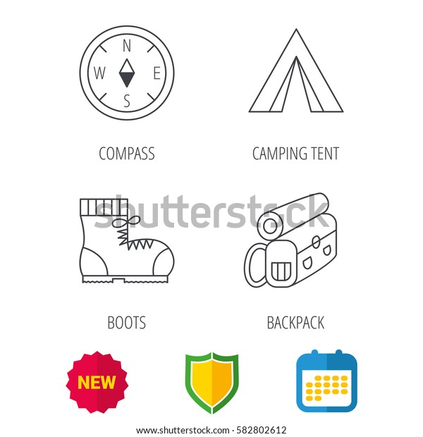 Backpack, camping tent and compass icons. Boots linear sign. Shield protection, calendar and new tag web icons. Vector