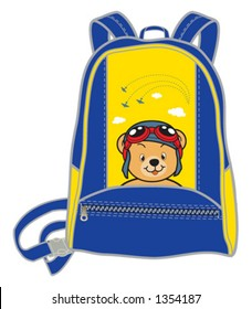 Backpack for children with picture of teddy-bear as a pilot